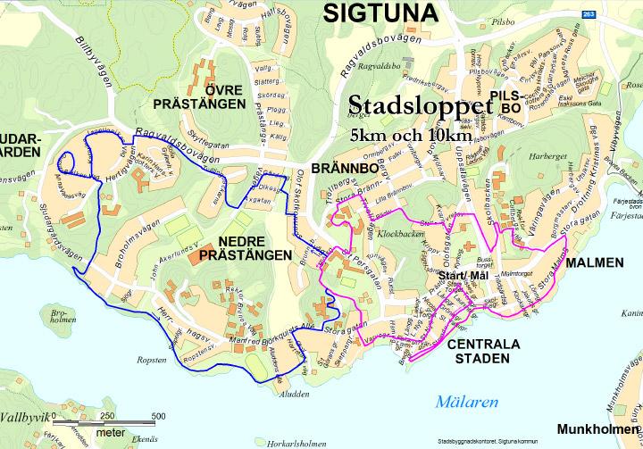 Karta över banor - 5 och 10 km
